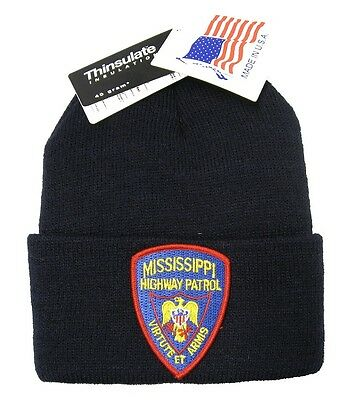 Mississippi Highway Patrol Patch Knit Cap - 40g Thinsulate Insulation - Black