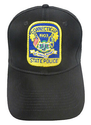 Connecticut State Police Patch Snap Back Ball Cap / Hat - BLACK - OSFA - New