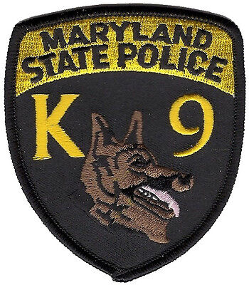 "Maryland State Police K9 Shoulder Patch - 3 1/2"" tall by 3"" wide - NEW"