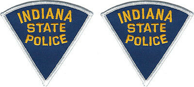 "Hat Size Indiana State Police Patches - Pair - 3""T by 3 1/8""W - NEW"