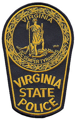 "Virginia State Police Shoulder Patch - 6 5/8"" tall by 4 1/8"" wide - NEW"