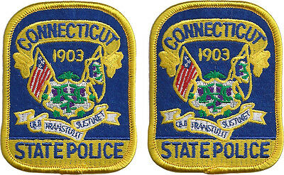 "Hat size Connecticut State Police Patches - Pair - 3 1/8""T by 2 1/2""W - NEW"