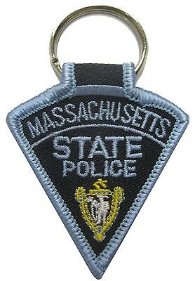 "Massachusetts State Police Patch Key Chain 3 1/8"" tall by 2 1/8"" wide - NEW"