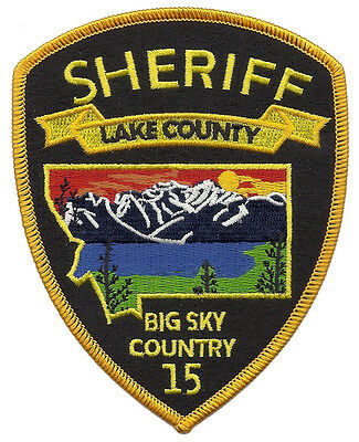 """Lake County Sheriff Montana Shoulder Patch - 5"""" tall by 3 7/8"""" wide"""