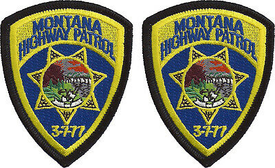 """Hat Size Montana Highway Patrol Patches - Pair - 3""""T by 2 3/8""""W - NEW"""