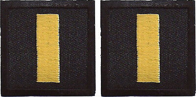 "Police Lieutenant Insignia Gold on Black 1.5"" Collar Patch Pair - NEW"