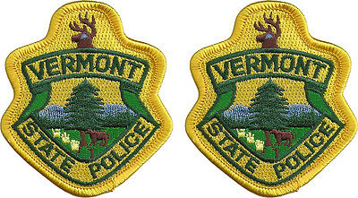 "Hat Size Vermont State Police Patches - Pair - 3""T by 2 5/8""W - NEW"