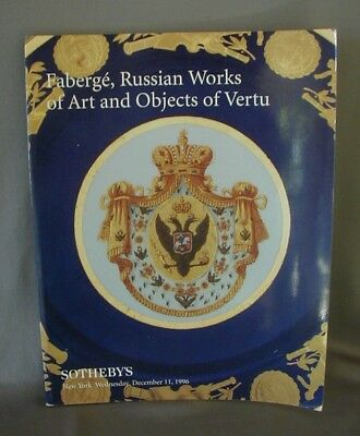 Faberge Russian Woks Of Art & Objects Of Virtue Sotheby's Catalog 1996