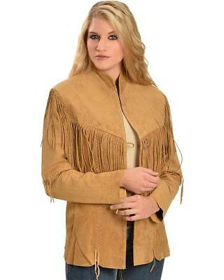 Womens Suede Leather  Fringe Native American Western Style Cowboy Jacket