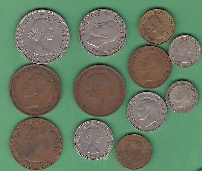 Great Britain Lot of Twelve Coins, One Silver