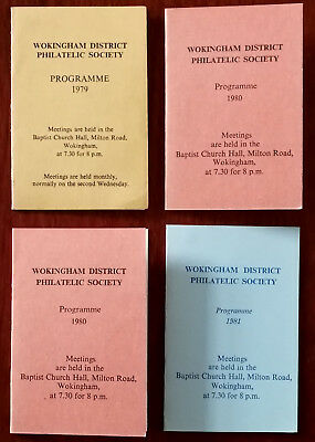 Wokingham District Philatelic Society programmes  for 1979, 2x 1980 & 1981