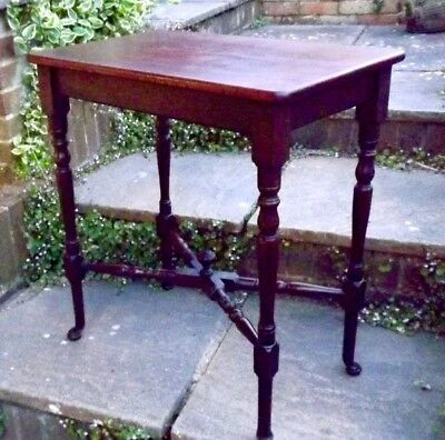 mahogany regency style side table turned & baluster legs & x-form stretchers bun