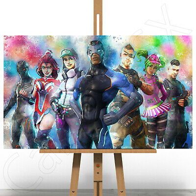 5Fortnite Battle Royale Game Canvas Art Print Picture Paint Splash Splatter A1