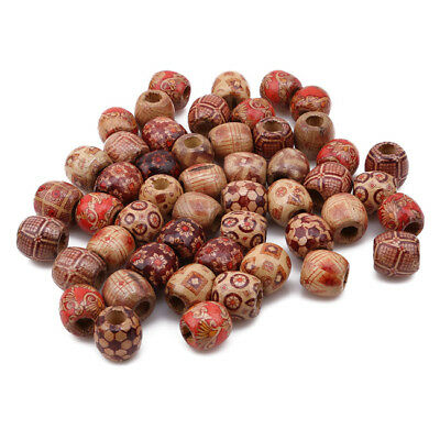 100pcs Hairstyle Accessories Printed Large Hole Wooden Beads Braided D