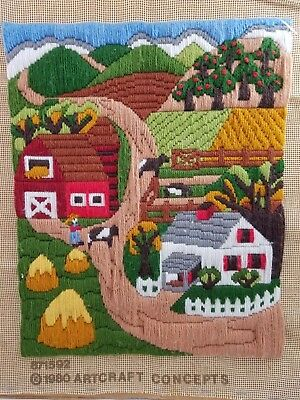 Vtg FINISHED Country Farm Scene 1980 Artcraft CREWEL Embroidery Long Needlepoint