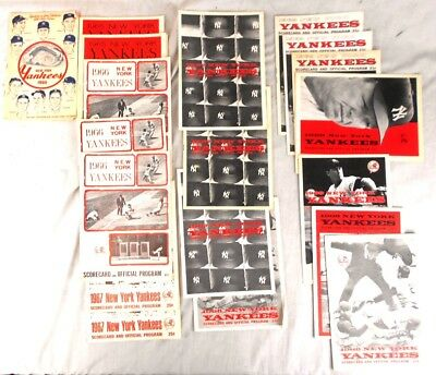 Lot of 20 Yankees Official Programs and Scorecard Booklets from the 1960s