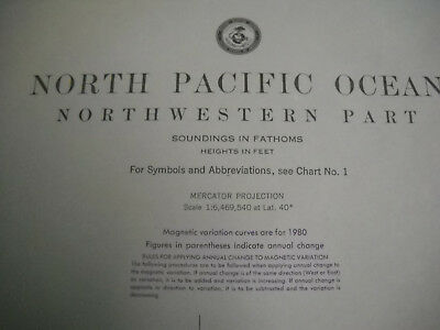 Vintage '84 Nautical Map North Pacific Ocean Northwestern Part Chart