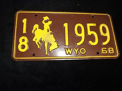 1968 WYOMING License Plate 18 1959