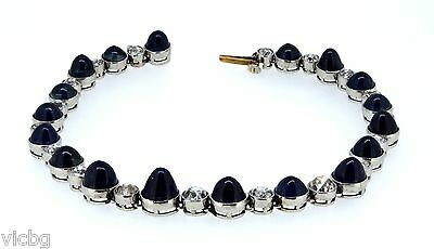 c.1890 Antique Victorian 25 Carat Burma Sapphire and Diamond Platinum Bracelet