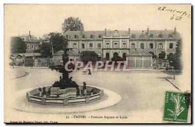 Troyes - Fontaine Argence et Lycee - 1913 CPA