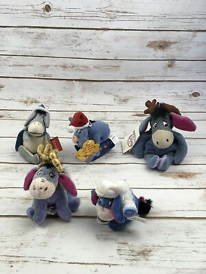 Eeyore Collectible Winnie The Pooh Mini Christmas Plush Ornament Bean Bag Bundle