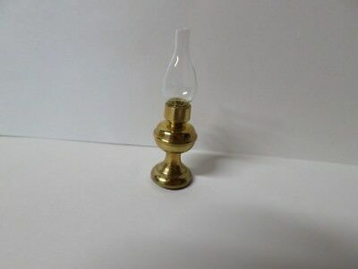 Dollhouse Miniature Brass Huriicane Lamp w/Glass Shade 1:12