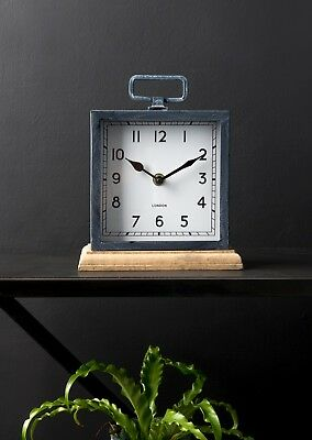 Small London Carriage Clock Wood Base Metal Frame Standing Vintage Mantel