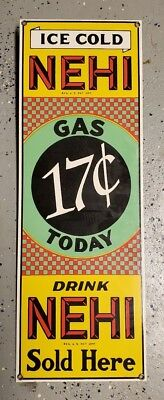 Drink Ice Cold Nehi Sold Here Gas 17 Cents Today Metal Reproduction Sign