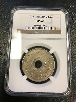 1935 20 Mils NGC MS64 Coin Palestine - Israel - TOP Grade!!! RARE!!!