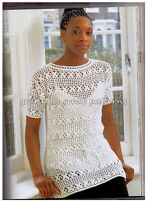 Laminated Crochet Pattern Ladies lovely Tunic Top 4 ply 34