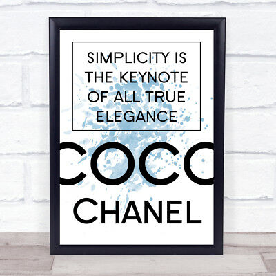 Blue Coco Chanel Simplicity Quote Wall Art Print