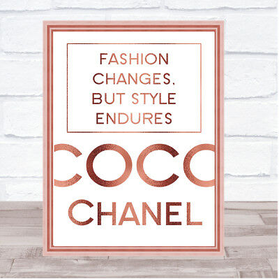 Rose Gold Coco Chanel Fashion Changes Quote Wall Art Print