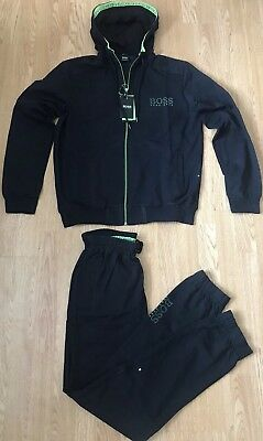 4183618f754ff HUGO BOSS GREEN Saggy Hadiko 50387166 410 Hooded Mens Tracksuit Dark ...