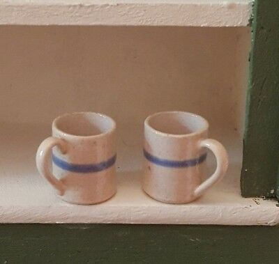 Dollhouse miniature set of 2 Eileen Vernon IGMA pottery mugs, 1:12, signed