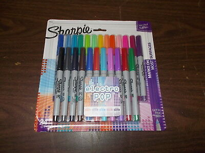 Sharpie Electro Pop Permanent Markers Ultra Fine Point Assorted Colors-24 Count!