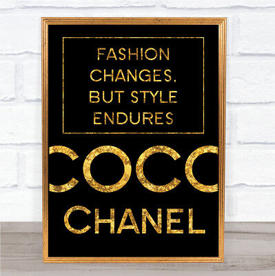 Black & Gold Coco Chanel Fashion Changes Quote Wall Art Print