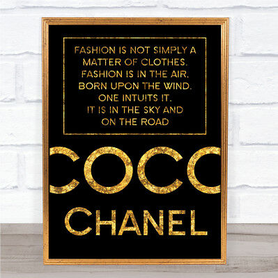 Black & Gold Coco Chanel Fashion Not Clothes Quote Wall Art Print