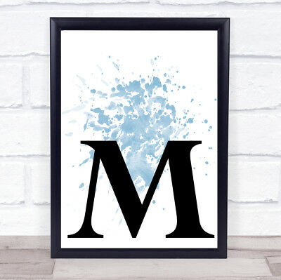 Blue Initial Letter M Quote Wall Art Print