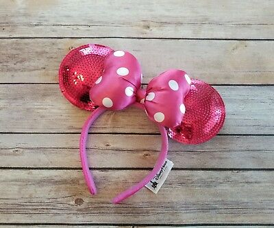 Disney Parks MINNIE MOUSE EARS Pink Sequin Polka Dot Bow HEADBAND 1 SIZE NWOT