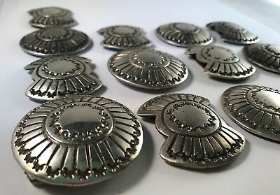 NICE! Vintage Western Style Sterling Silver Conchos Set of 13