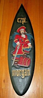 "Captain Morgan Surfboard - Shaped Wall Hanging Sign Decor Carved Wood 39"" Tall"