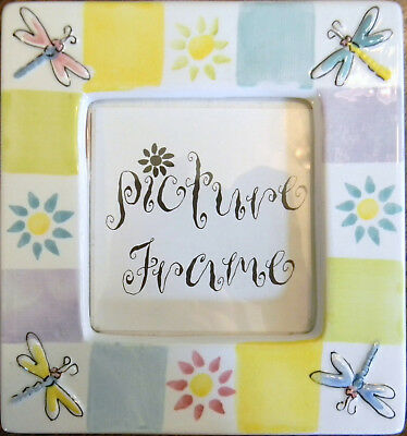 NEW Ceramic Picture Frame Block Colors, Dragonfly, Sun, Neutral Colors FREE SHIP