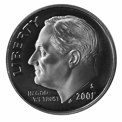 2001 S Roosevelt Dime 10c Gem Deep Cameo Proof 90% Silver Single US Coin
