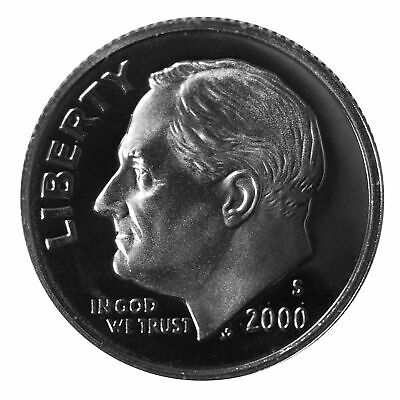 2000 S Roosevelt Dime 10c Gem Deep Cameo Proof 90% Silver Single US Coin