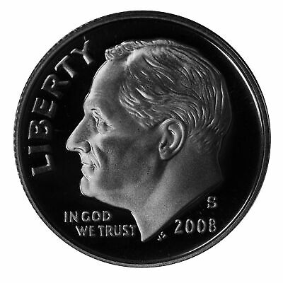 2008 S Roosevelt Dime 10c Gem Deep Cameo Proof 90% Silver Single US Coin