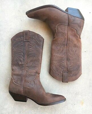 Tooled Leather Cowboy Boots Womens 7.5 Western Cowgirl Native American Details