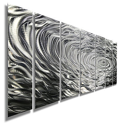 Large Modern Silver Metal Wall Art Painting - Contemporary Decor by Jon Allen