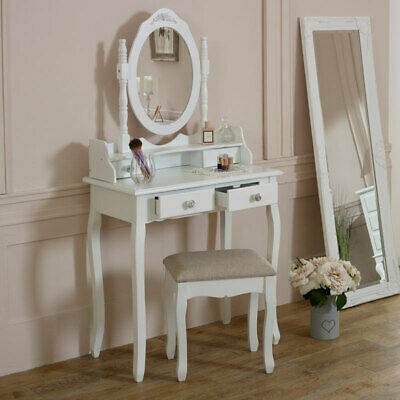 WHITE DRESSING TABLE Set Mirror Stool Shabby French Chic ...