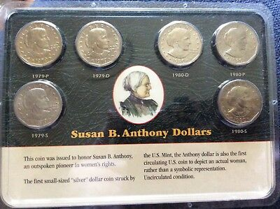Susan B. Anthony Dollars 6-Coin Set Littleton Coin Company Unc - 1979 & 1980