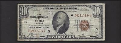 1929 $10 NATIONAL CURRENCY Federal Reserve Chicago FR1860G  FINE  ~407970-NL-CI